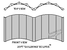 20 ft Eclipse gullwing pop-up trade show display line art drawing